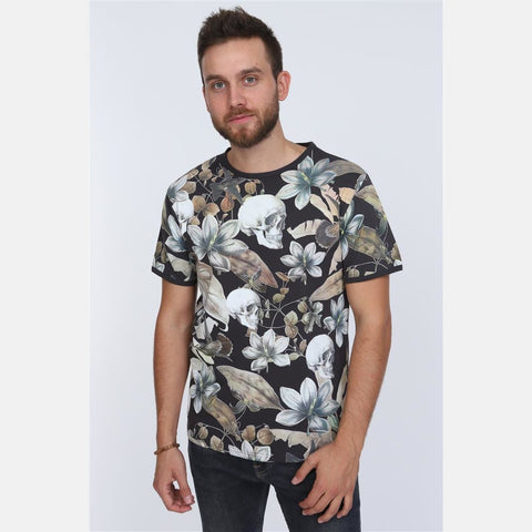 S-Ponder Anthracite Flower Skull Full Printed Cotton T-Shirt Tee Top