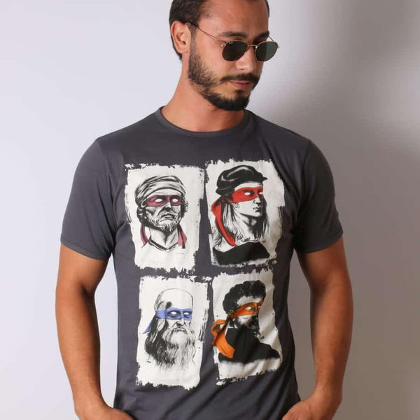 Anthracite Four Masters Printed Cotton T-shirt - S-Ponder Shop