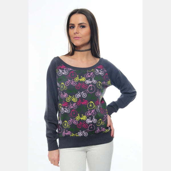 Anthracite Full Colourful Bicycle Printed Cotton Sweatshirt