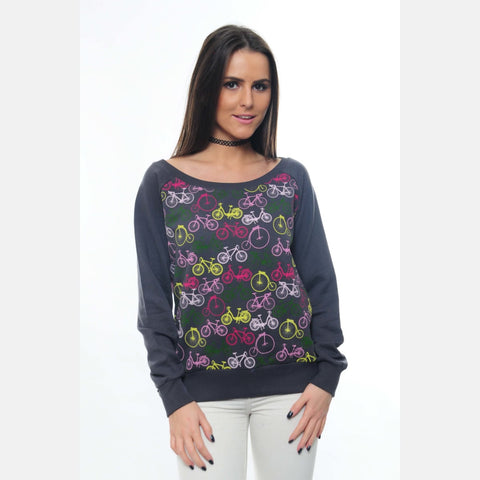 S-Ponder Anthracite Full Colourful Bicycle Printed Cotton Sweatshirt Long Sleeve