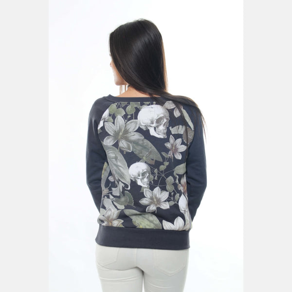 Anthracite Full Flower Skull Printed Cotton Sweatshirt -
