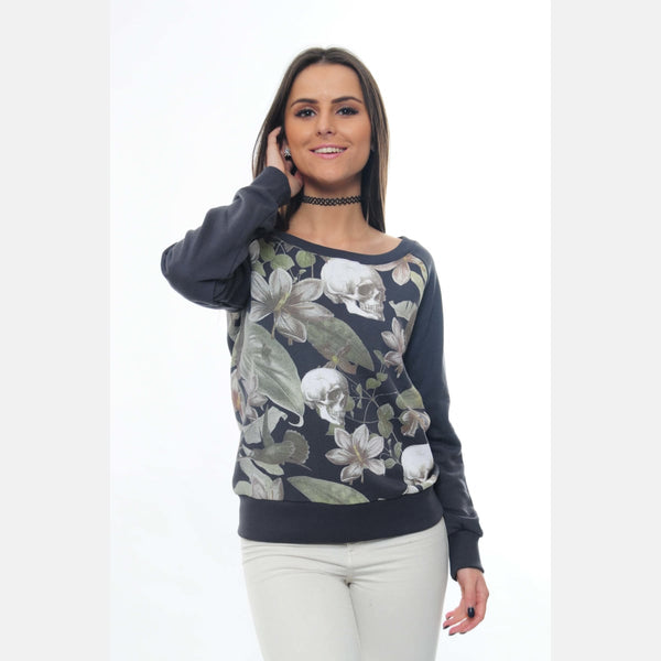 S-Ponder Anthracite Full Flower Skull Printed Cotton Sweatshirt Long Sleeve