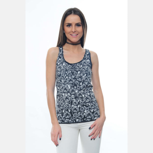 S-Ponder Anthracite Full Tiger Printed Cotton Tank Top Vest