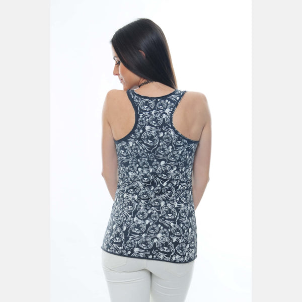 Anthracite Full Tiger Printed Cotton Tank Top - S-Ponder