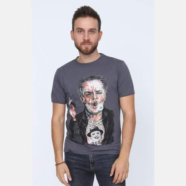 S-Ponder Anthracite Jack Nicholson (Batman-Joker) Printed Cotton Men T-Shirt Tee Top