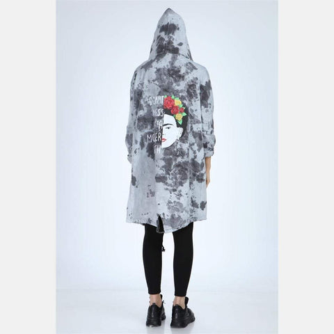 Anthracite Long Tie Die Frida Kahlo Print Cotton Cardigan