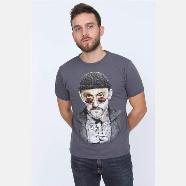 S-Ponder Anthracite Leon Movie Printed Cotton T-shirt Tee Top