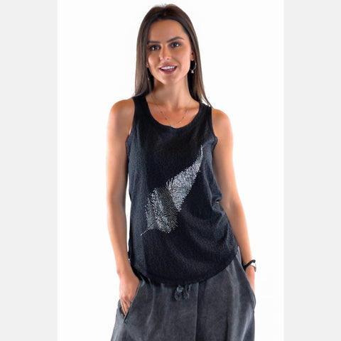 Anthracite Shinny Feather Cotton Women Vest Tank Top S-Ponder