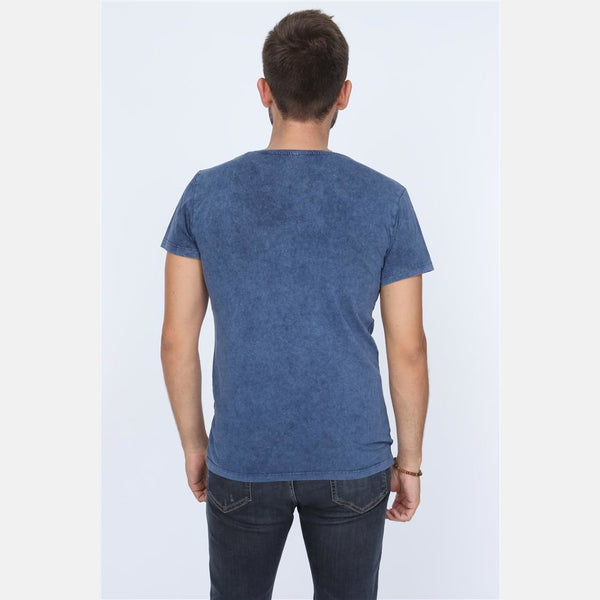 Anthracite Stone Washed Bicycle Printed Cotton T-shirt -