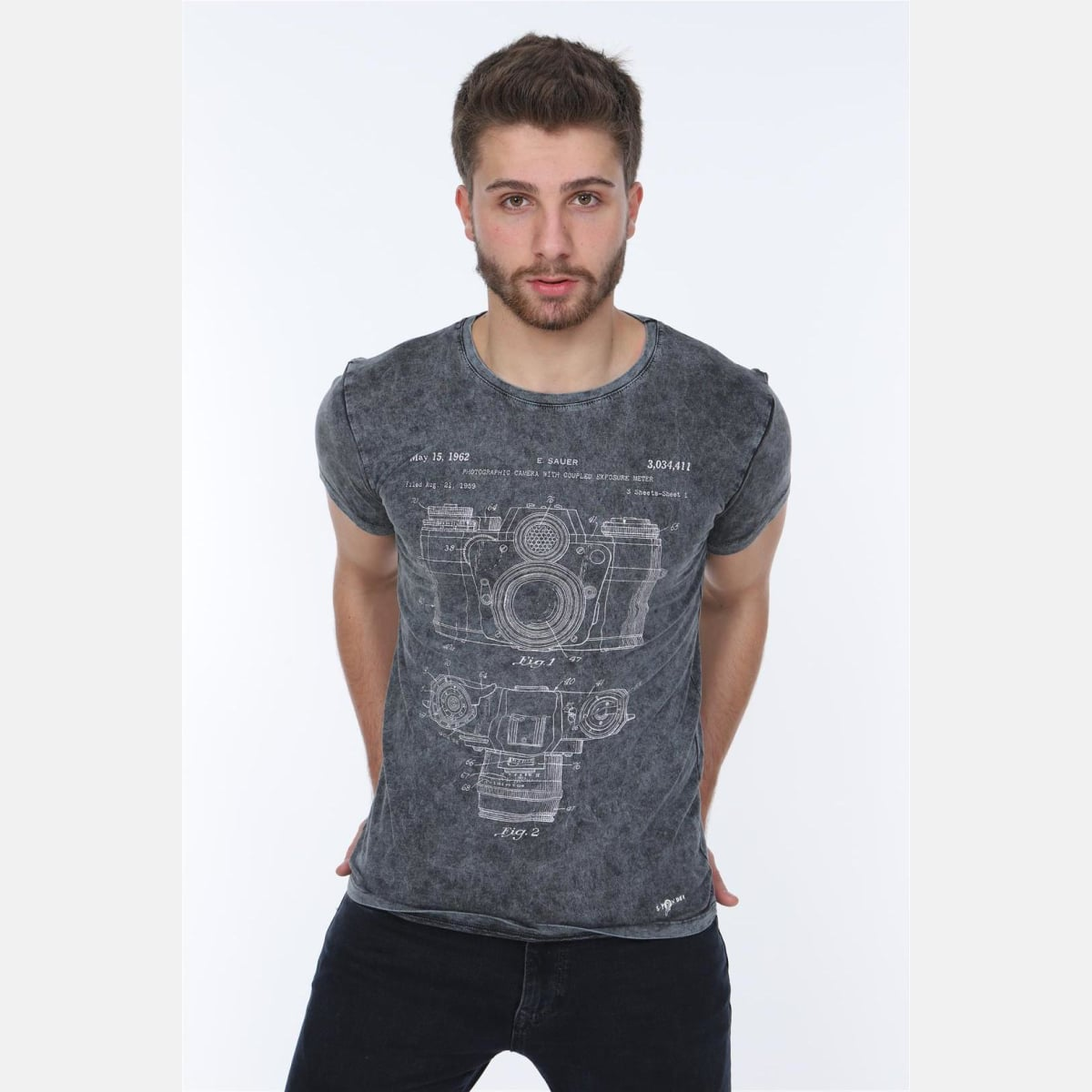 S-Ponder Anthracite Stone Washed Camera Patent Printed Cotton T-shirt Tee Top