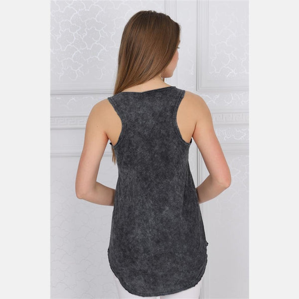 Anthracite Stone Washed Cat Skull Printed Cotton Women Vest