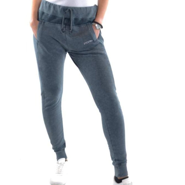 Anthracite Stone Washed Cotton Women Jogger Pant - S-Ponder