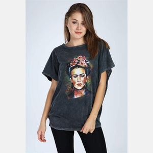 Anthracite Stone Washed Frida Kahlo Printed Cotton Women Top T-shirt Blouse S-Ponder