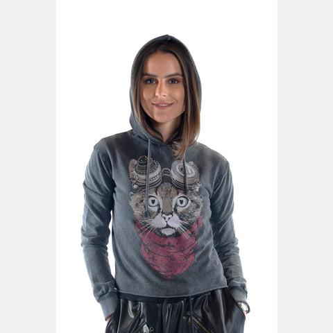 Anthracite Stone Washed Google Cat Animal Printed Cotton Women Hoodie S-Ponder