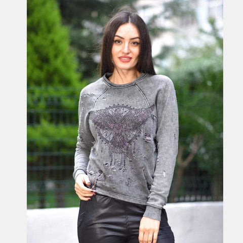 S-Ponder Anthracite Stone Washed Grey Dream Catcher Printed Cotton Sweatshirt Long Sleeve