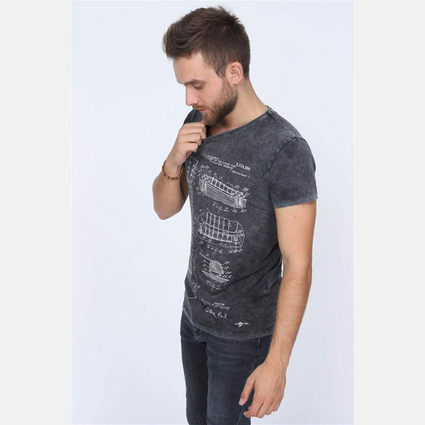 Anthracite Stone Washed T.M Mc.CARTY Guitar Patent Printed Cotton T-Shirt - S-Ponder Shop