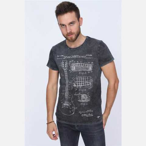 Black Anthracite Stone Washed Faded T.M Mc.CARTY Guitar Patent Printed Cotton Men Unisex T-Shirt Tee Top S-PONDER
