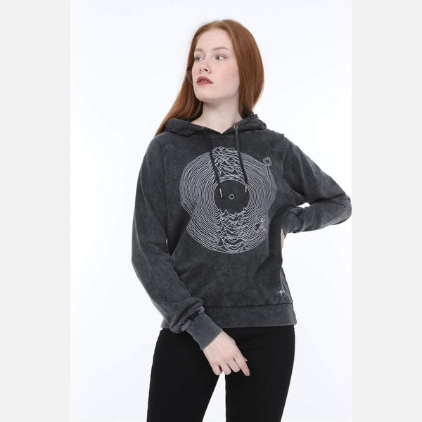 Anthracite Stone Washed Joy Division Printed Cotton Hoodie -