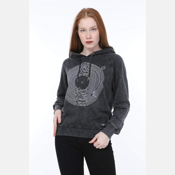 S-Ponder Anthracite Stone Washed Joy Division Printed Cotton Hoodie