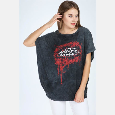 Anthracite Stone Washed Lip Printed Cotton Women Top T-Shirt Blouse S-Ponder