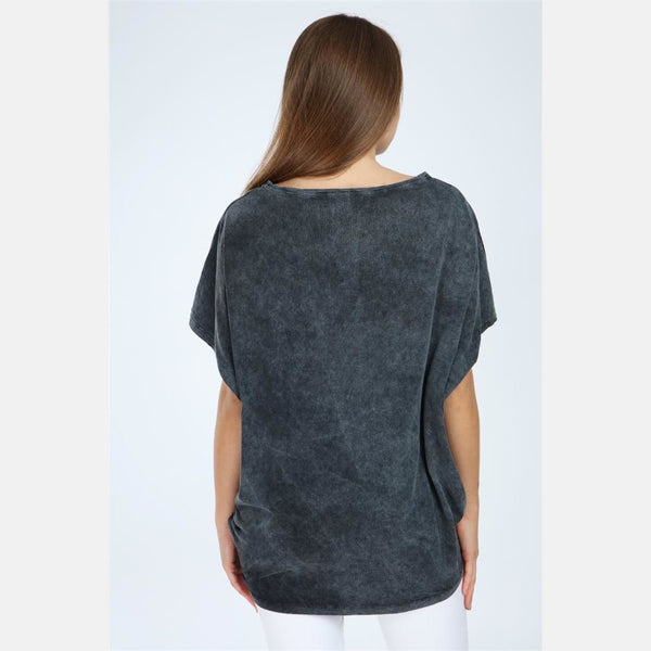 Anthracite Stone Washed Lip Printed Cotton Women Top -
