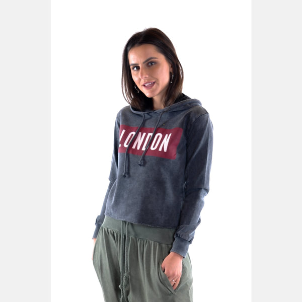 Anthracite Stone Washed London Print Cotton Women Hoodie -