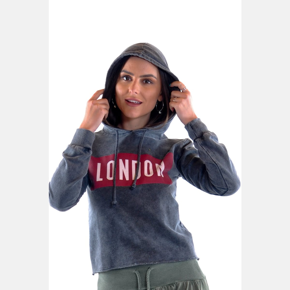 Anthracite Stone Washed London Print Cotton Women Hoodie S-Ponder