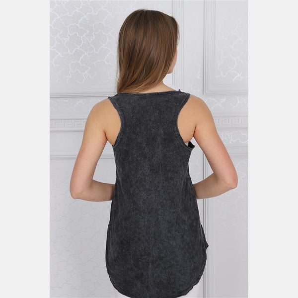 Anthracite Stone Washed Mexican Skull Printed Cotton Women Vest - S-Ponder Shop