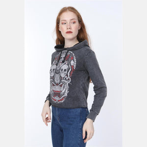 Anthracite Stone Washed New Skull Printed Cotton Women Crop Top Hoodie - S-Ponder Shop