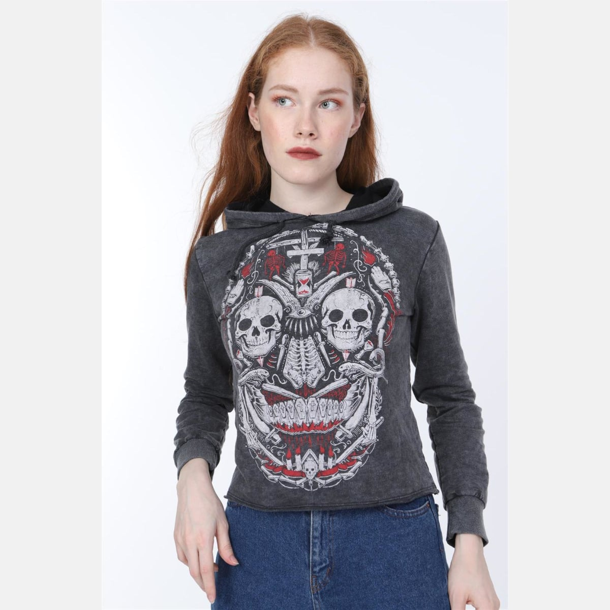 Black Anthracite Stone Washed Faded New Skull Printed Cotton Women Crop Top Hoodie S-PONDER
