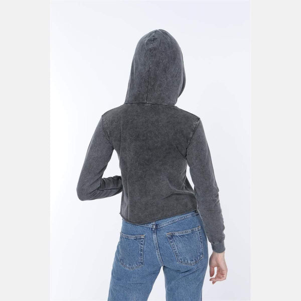 Anthracite Stone Washed Nightmare Printed Cotton Women Crop Top Hoodie - S-Ponder Shop