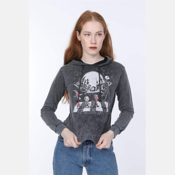 Black Anthracite Stone Washed Faded Nightmare Printed Cotton Women Crop Top Hoodie S-PONDER