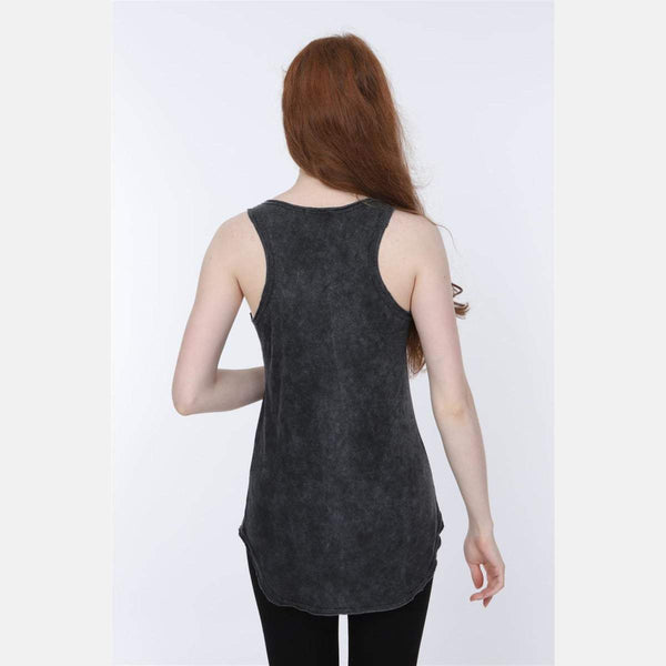 Anthracite Stone Washed Nightmare Printed Cotton Women Vest