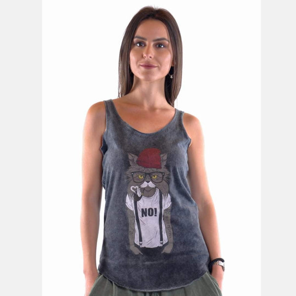 Anthracite Stone Washed Red Hat Cat Cotton Women Vest Tank Top S-Ponder