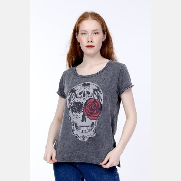 Anthracite Stone Washed Rose Skull Printed Cotton Women
