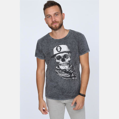 Black Grey Anthracite Stone Washed Faded Scarf Skull Printed Cotton Men Unisex T-shirt Tee Top S-PONDER
