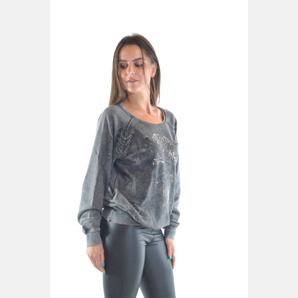 Anthracite Stone Washed Shinny and Chain Skull Cotton Women