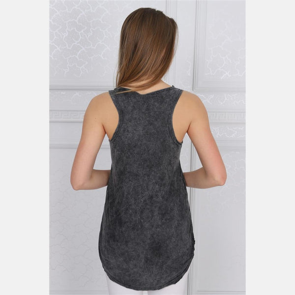 Anthracite Stone Washed Skull Queen Printed Cotton Women Vest - S-Ponder Shop