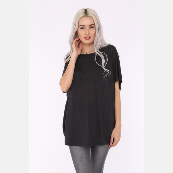 Black Angel Wings Cotton Women Balloon T-Shirt - S-Ponder Shop