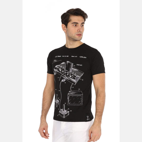 Black Atari Patent Printed Cotton Men T-shirt - S-Ponder