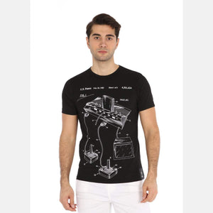 Black Atari Patent Printed Cotton Men T-shirt Tee