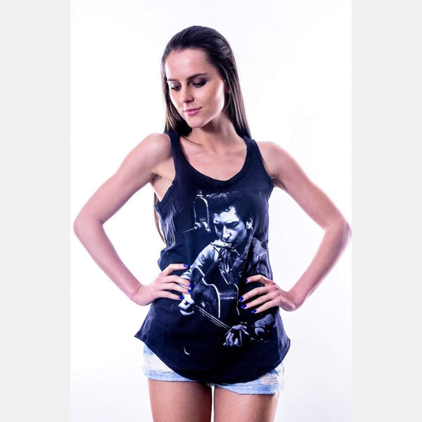 Black Bob Dylan Printed Cotton Vest Tank Top