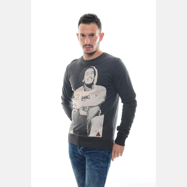 Black Bob Marley Printed Cotton Men Sweatshirt - S-Ponder Shop
