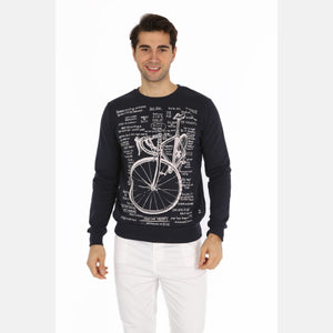 Black Bicycle Writing Printed Cotton Men Sweatshirt -