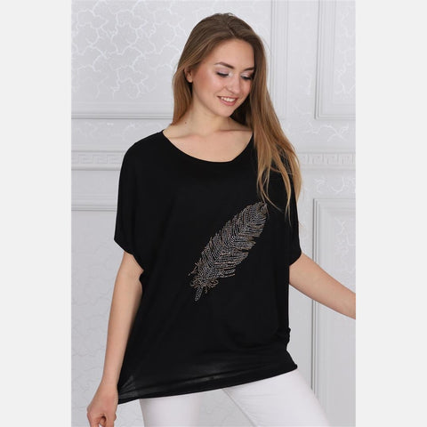 Black Big Feather Cotton Women Balloon T-Shirt - S-Ponder Shop