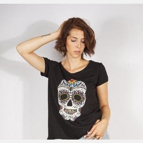 Black Colourful Mexican Skull Printed Cotton Women T-shirt Tee