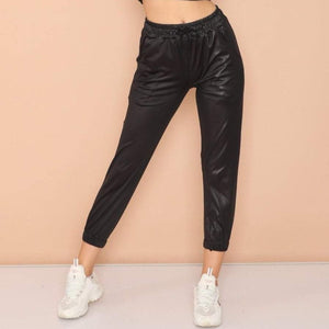 Black Cotton Satin Jogger Pants Trousers S-Ponder