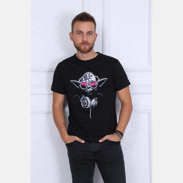 Black Dj Master Printed Cotton T-shirt - S-Ponder Shop