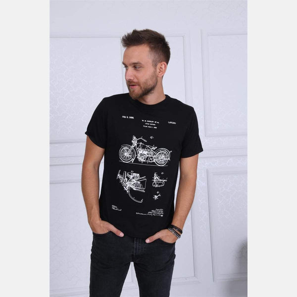 Black Harley Davidson Patent Printed Cotton T-Shirt - S-Ponder Shop