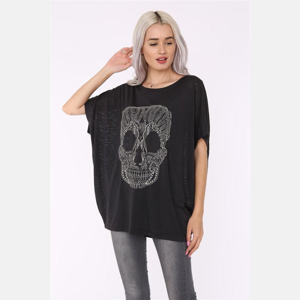 Black Lace Skull Cotton Women Balloon Cut T-Shirt Tee Top S-PONDER